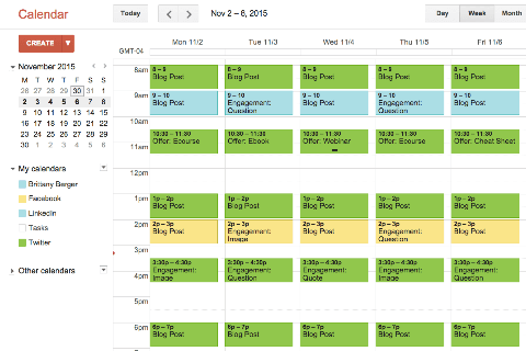 A visual content calendar created on Google Calendar