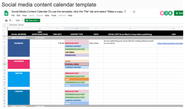 Social Media Marketing Content Calendar Template