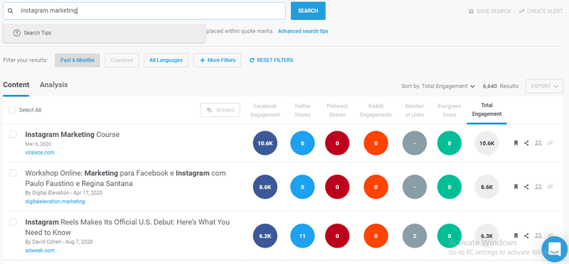 Social media marketing using Buzzsumo