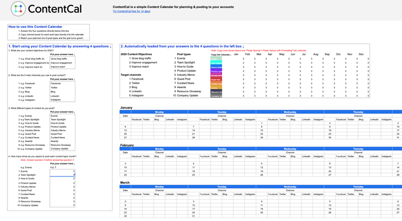 contentcal calendar template