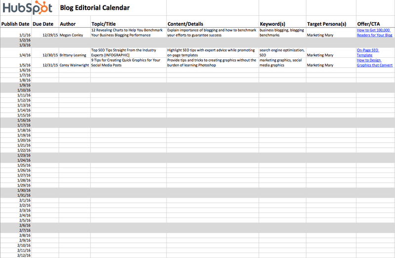 Blog editorial calendar template from Hubspot