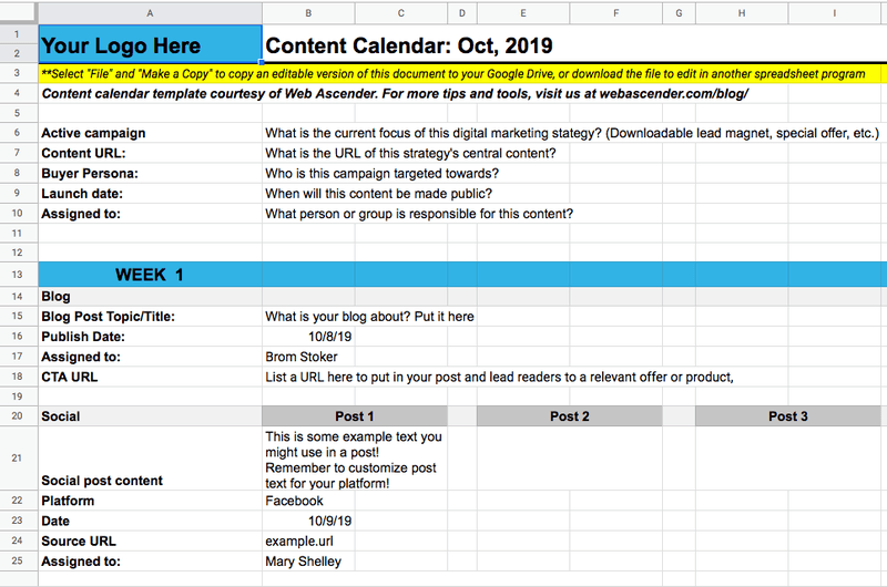 Creating your social media calendar in Google Sheets
