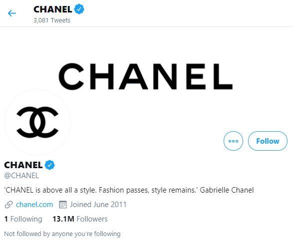 Chanel's Bio on Twitter in their Social Media Marketing Program