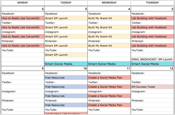 A visual content calendar spreadsheet
