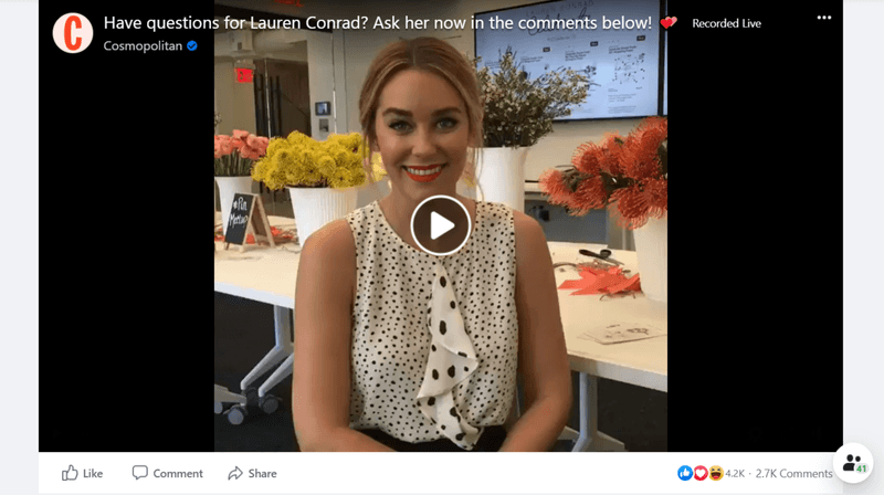 Guest Influencer: Lauren Conrad live on Cosmopolitan's Facebook account
