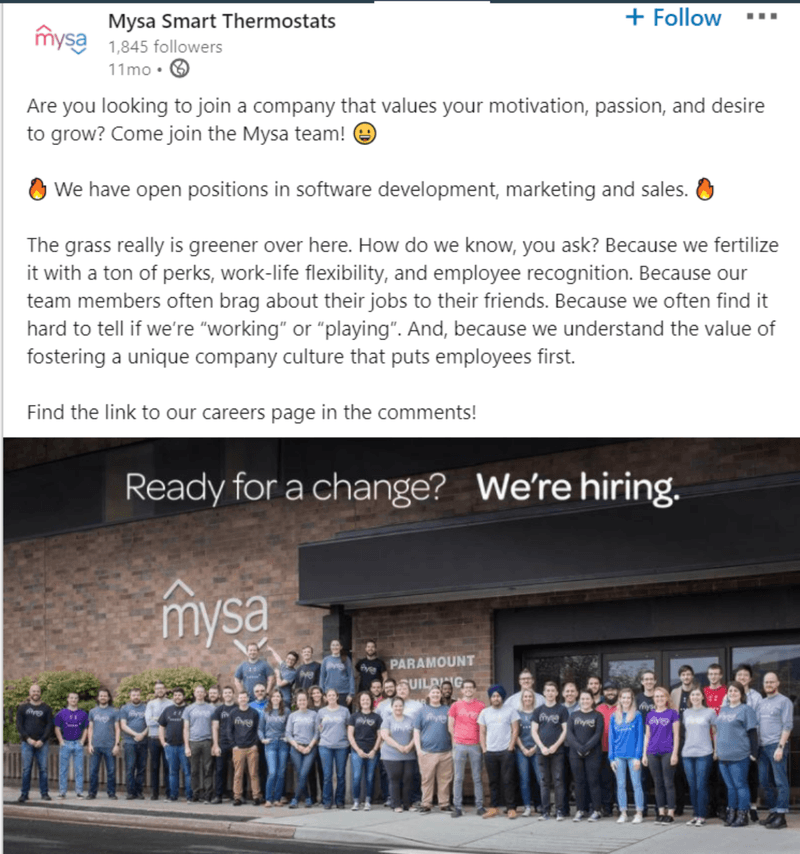 Mysa Smart Thermostats posts a job opening on LinkedIn