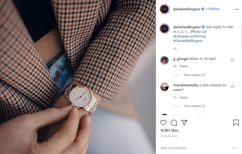 Daniel Wellington sharing influencer generated content on Instagram