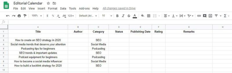 editorial content calendar spreadsheet